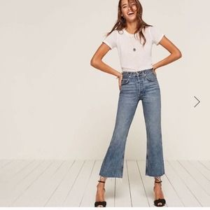 Reformation Mid Crop Flare Jean in Baltic 29